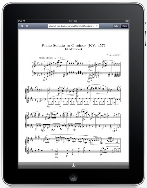 iPad displaying sheet music