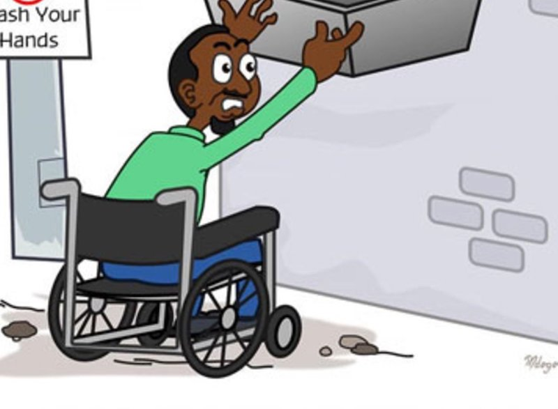 a cartoon illustration of a man on a wheel-chair reaching for a water stall