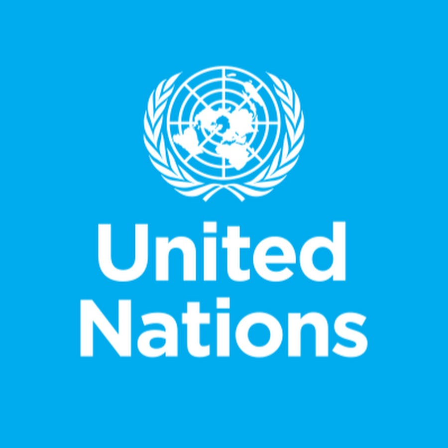 The words, United Nations, written in white over a blue background below the logo