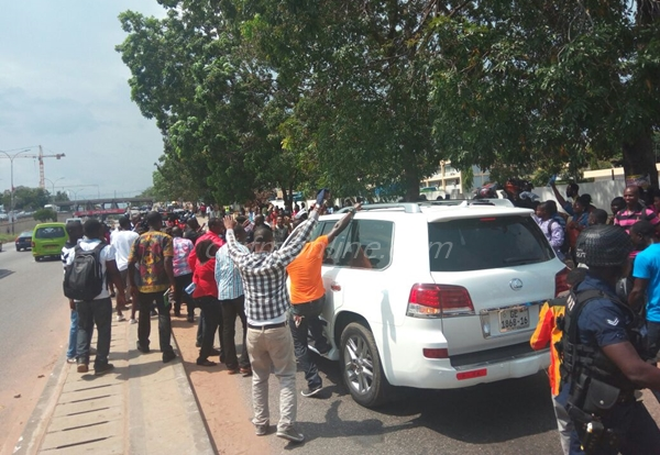 Supporters of Owusu Bempah at Police Headquarters
