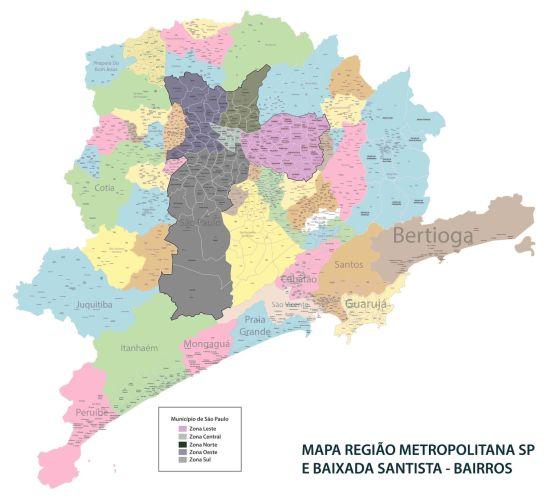 Mapa RM de SP e Baixada Santista – Bairros