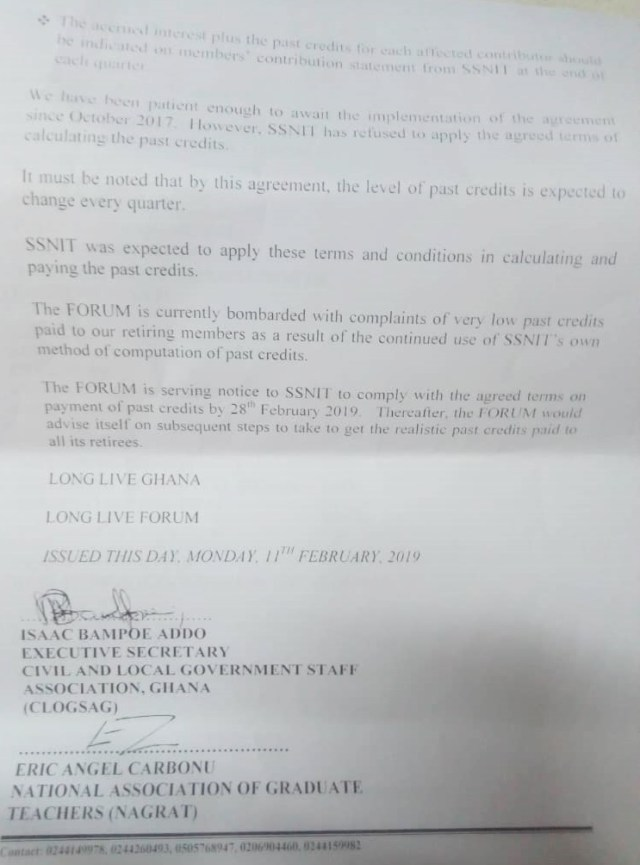 Labour Unions give SSNIT Feb 28 ultimatum to honour credits payment deal