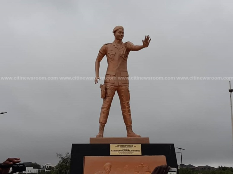 Major Mahama's statue unveiled at Airport Hills Roundabout
