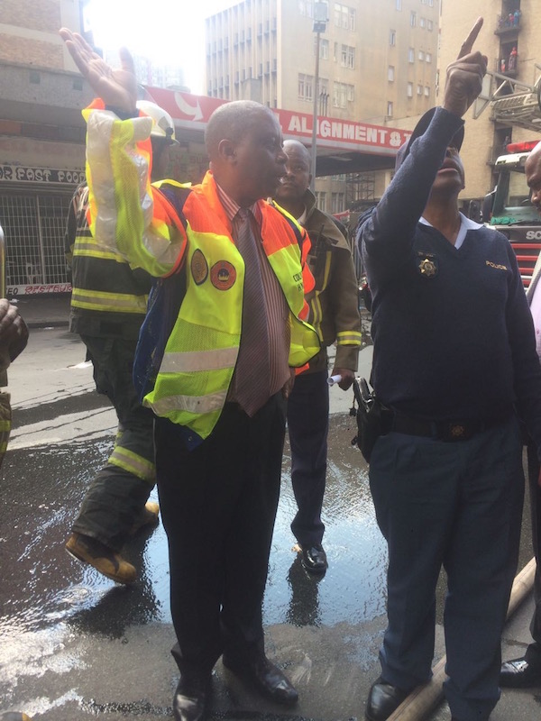 Emergency services on the scene of the fire in a Joburg CBD building. Picture: Tracy-Lee Stark