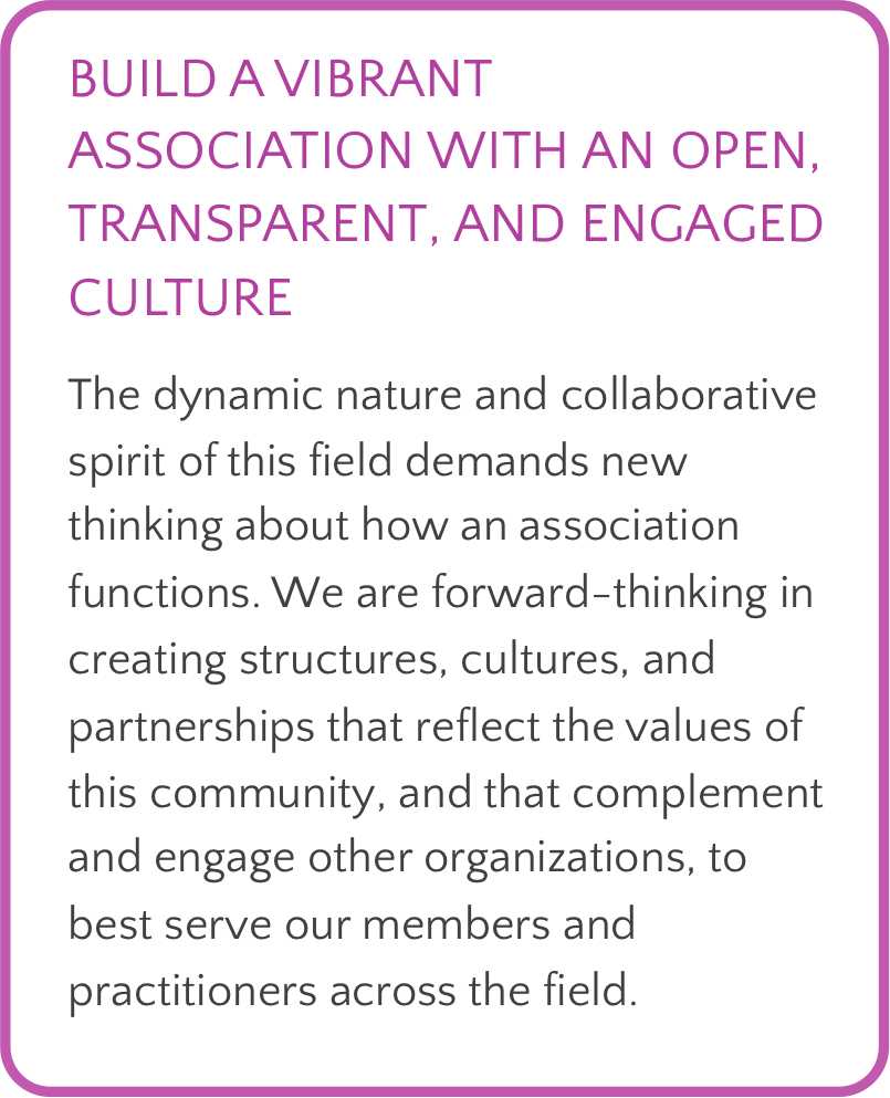 Text box with purple border. Header, in purple, reads: Build a vibrant association with an open, transparent, and engaged culture. Body text reads: The dynamic nature and collaborative spirit of this field demands new thinking about how an association functions. We are forward-thinking in creating structures, cultures, and partnerships that reflect the values of this community, and that complement and engage other organizations, to best serve our members and practitioners across the field.