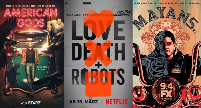 ©Starz ©Netflix ©FX Network American Gods staffel 2 love death and robots staffel 1 mayans mc staffel 1 serien trailer time