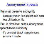 Slide about anonymous speech