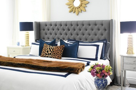 REVAMP YOUR FALL BEDROOM DECOR FOR LESS THAN  20 Fall bedroom decor with navy  leopard and faux fur   easy tips to transform  your