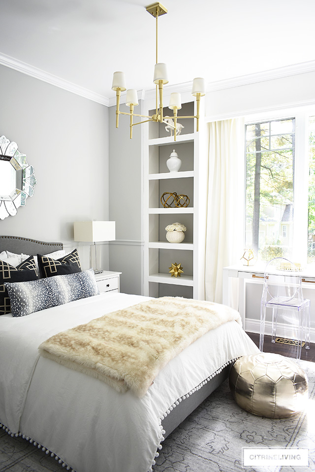 Glam teen girl bedroom makeover, with soft gray walls, and chic decor.