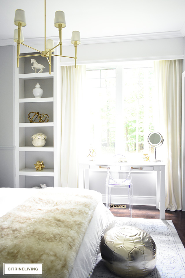 A chic and sophisticated teen girl with layers of ivory, gray and brass. A modern and elegant brass chandelier complete the look!