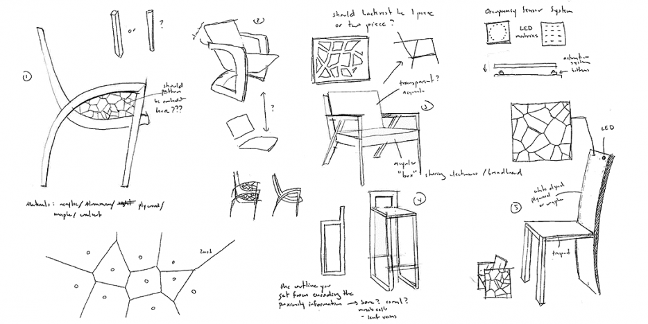 A page from the sketchbook of Jessica Chiu, a student in the Interactive Seating course. Image courtesy of Jessica Chiu.