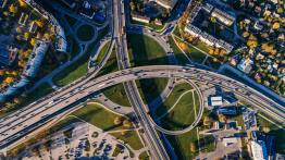 Aerial view of urban transportation system.
