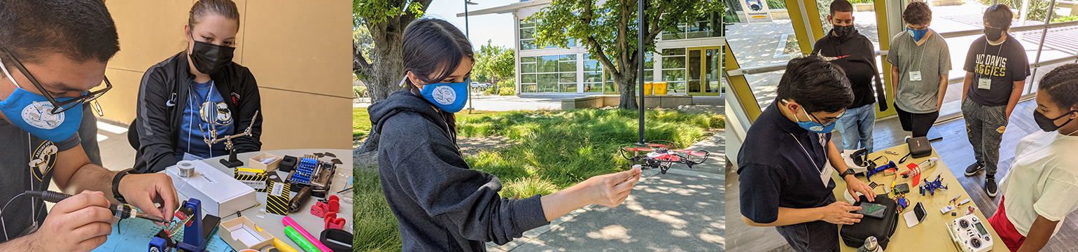 High school students wearing face coverings performing camp activities, including soldering drone parts, reaching out toward a hovering drone and listening to an instructor around a table.