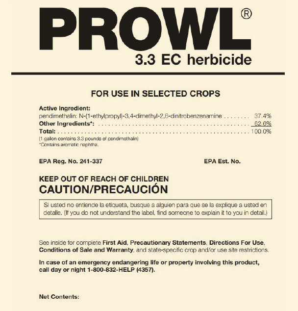 Figure 1: Front panel of a pesticide label