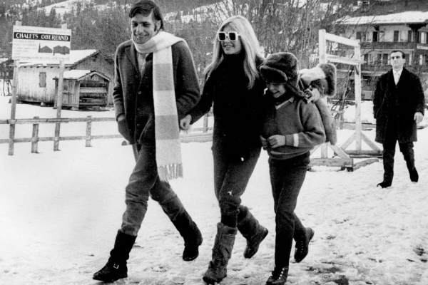 Brigitte Bardot with her husband, Gunther Sachs, and his son Rolf in Gstaad