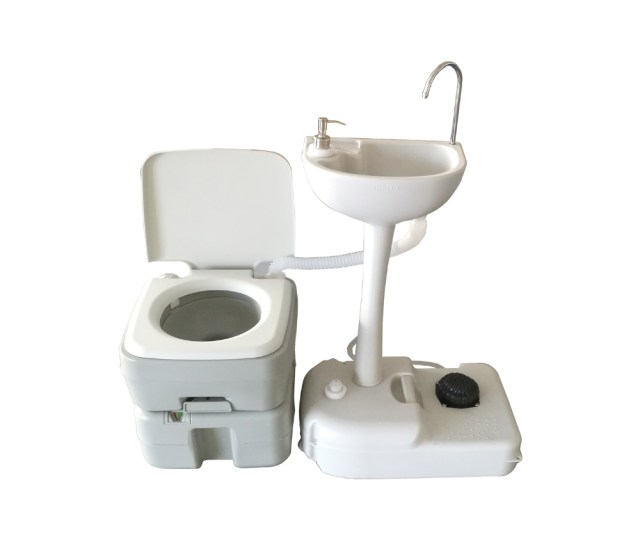 L Portable Toilet Flush Camping Hiking Toilet Potty And Wash Basin Sink Hdpe