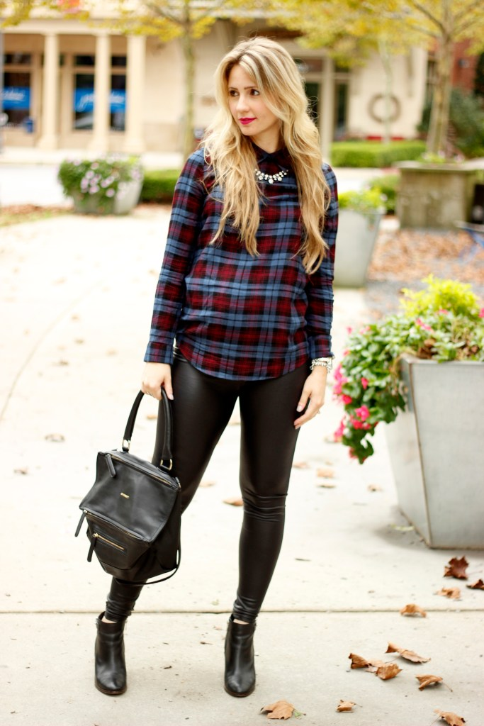 plaid-maternity-fall-leather-leggings