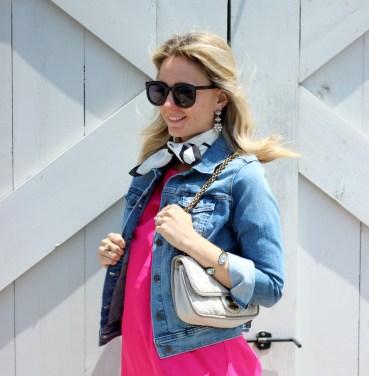hot-pink-shift-dress-old-navy-denim-jacket