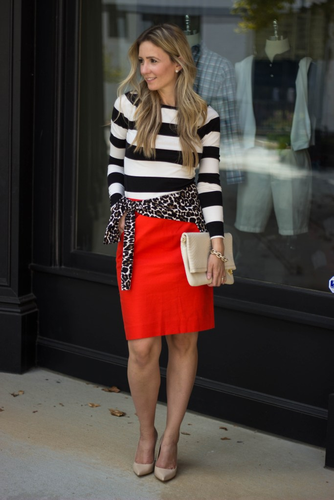 J.Crew-city-peach-fall-layering-leopard-sweater-pencil-skirt