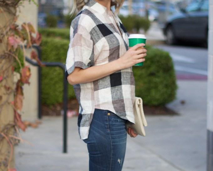 neutral-plaid-shirt-hi-lo-jeans-city-peach-@citypeach