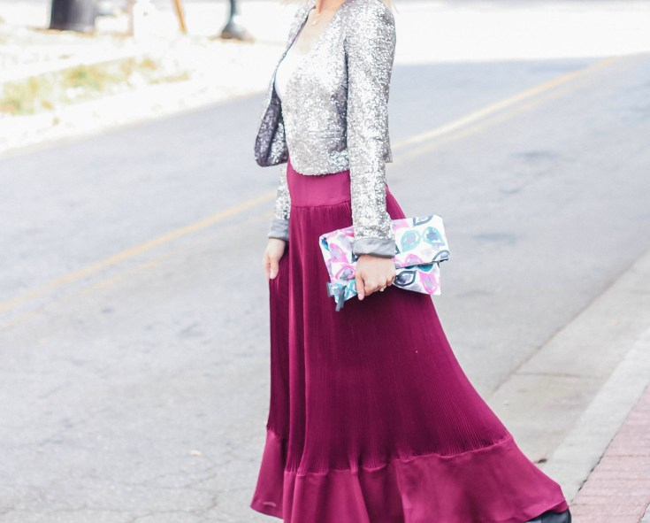 holiday-outfit-sequin-blazer-accordion-maxi-skirt-city-peach