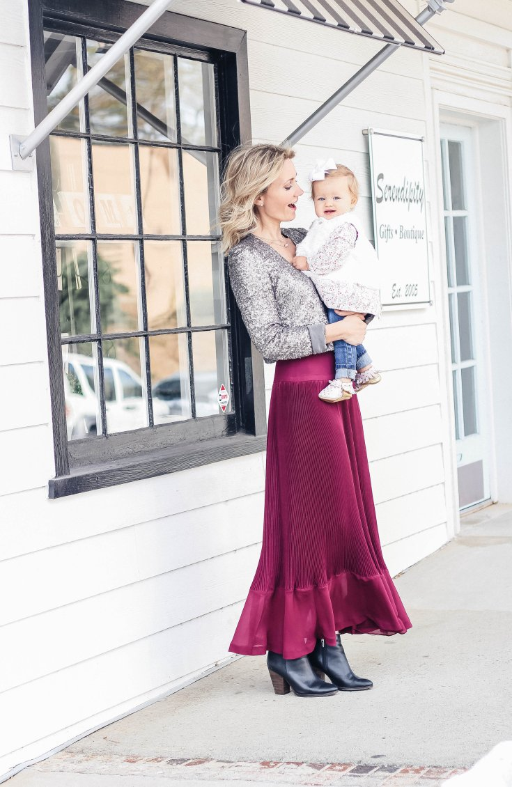 mommy-baby-holiday-outfit-sequin-blazer-accordion-maxi-skirt-city-peach