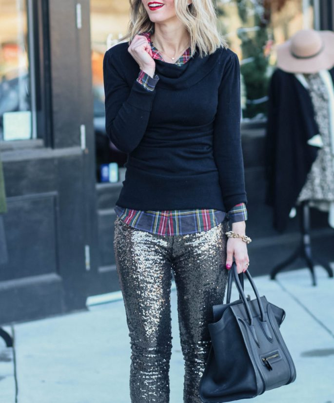 sequin-pants-plaid-underneath-NYE-outfit idea-city-peach