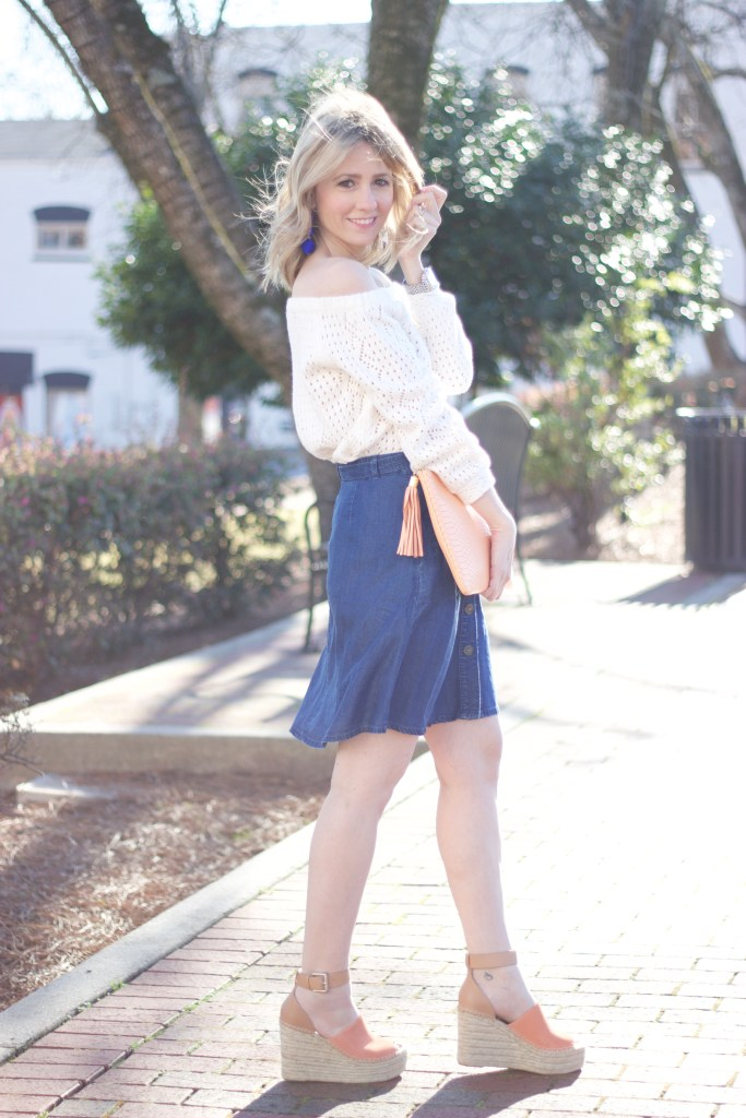 off-the-shoulder-sweater-denim-skirt-marc-fisher-wedge-city-peach