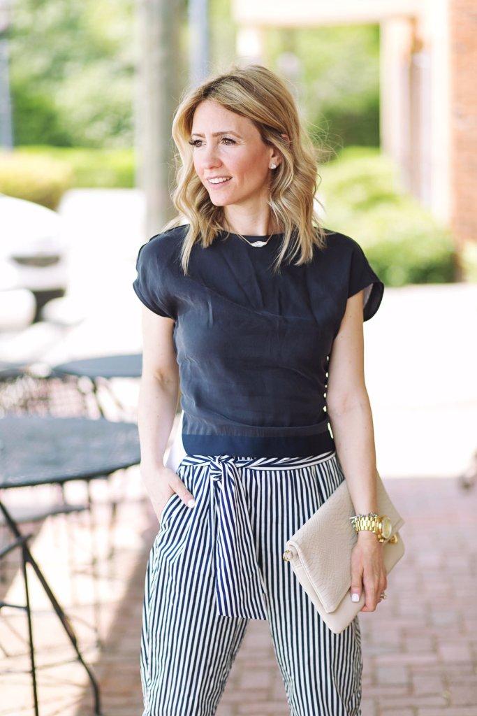 summer-outfit-workwear-highwaist-pants-Zara-bow-flats-city-peach