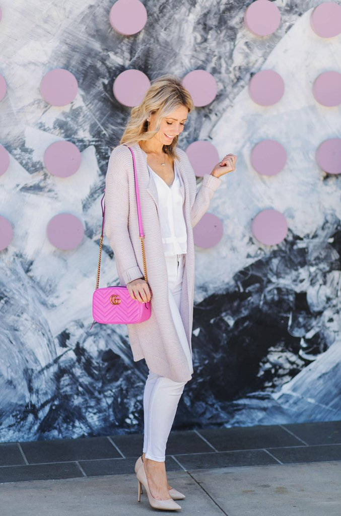 pink-cardigan-white-jeans-pink-crossbody-Gucci-city-peach