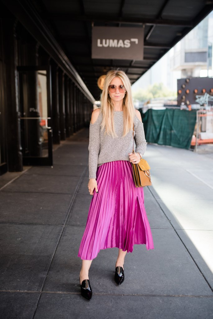 lillap-pleated-midi-skirt-cold-shoulder-sweater-NYFW-city-peach