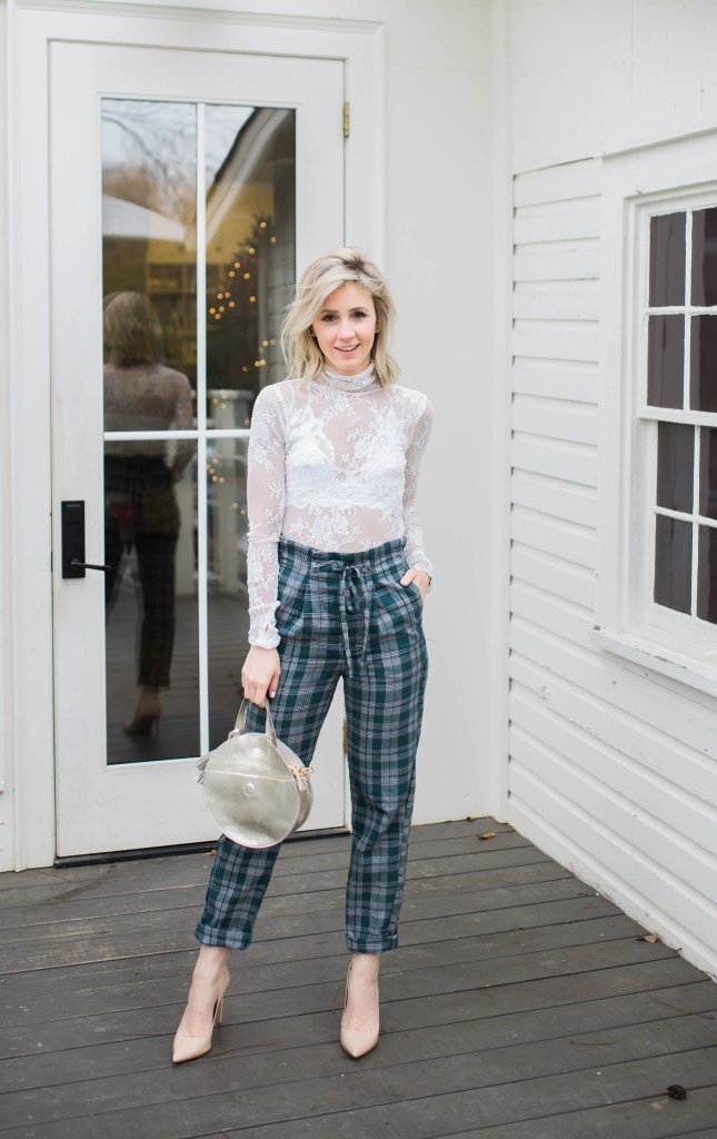plaid-pants-free-people-lace-top-turtleneck-city-peach-holiday-outfit-ideas