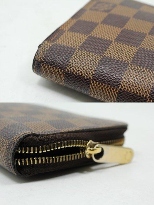 高雄收購二手路易威登 Louis Vuitton LV Damier N60015 棋盤格紋拉鍊長夾