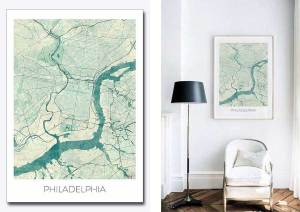 Philadelphia city art map posters States map shape quiz.