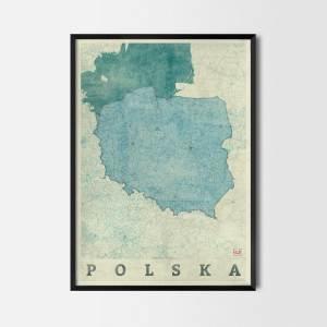 Polska Plakat Miasta Mapa