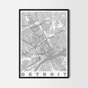 detroit art prints city map