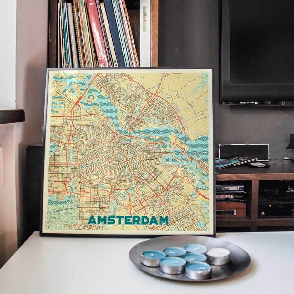 Amsterdam Map Prints Retro Posters