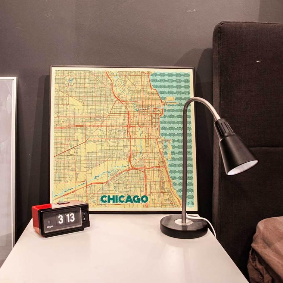Chicago Map Prints Retro Posters