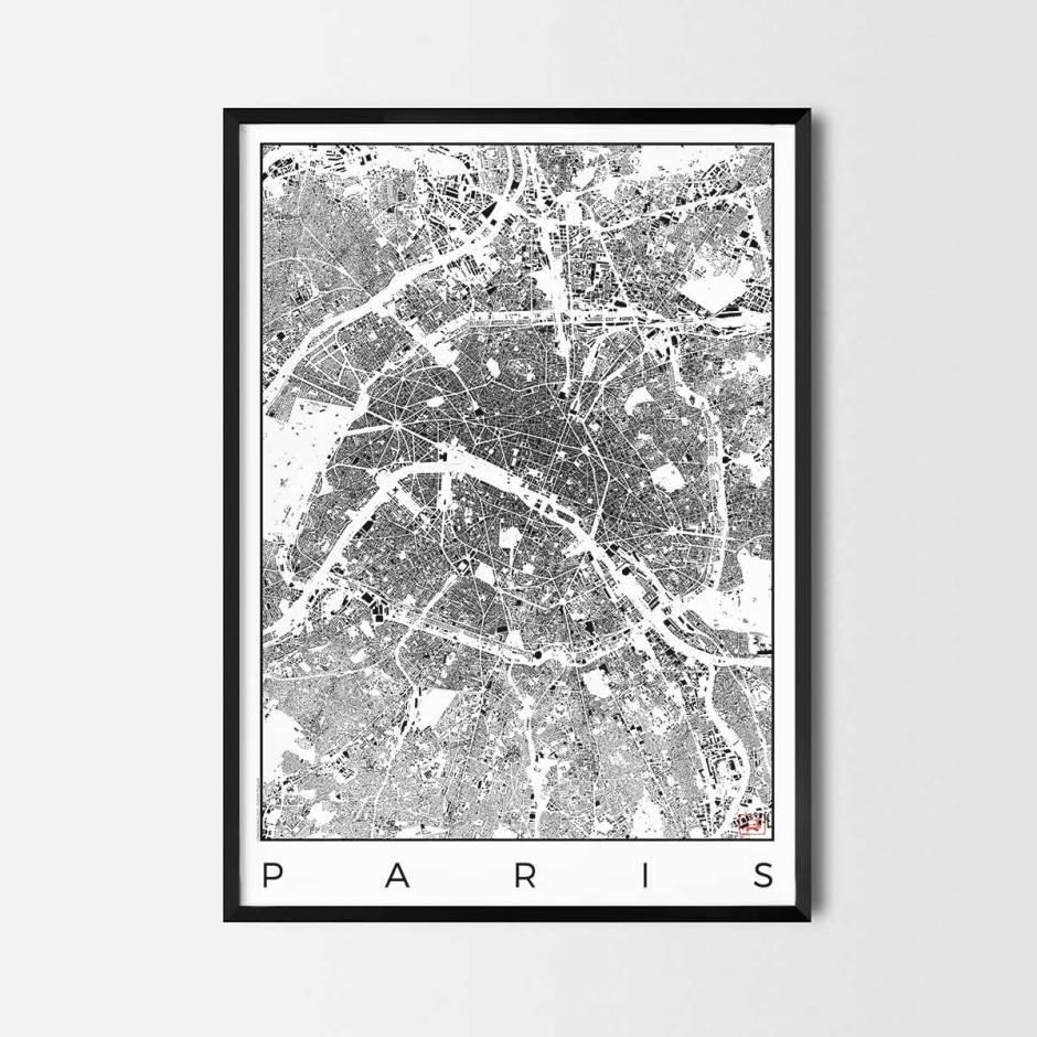 Paris map poster schwarzplan urban plan