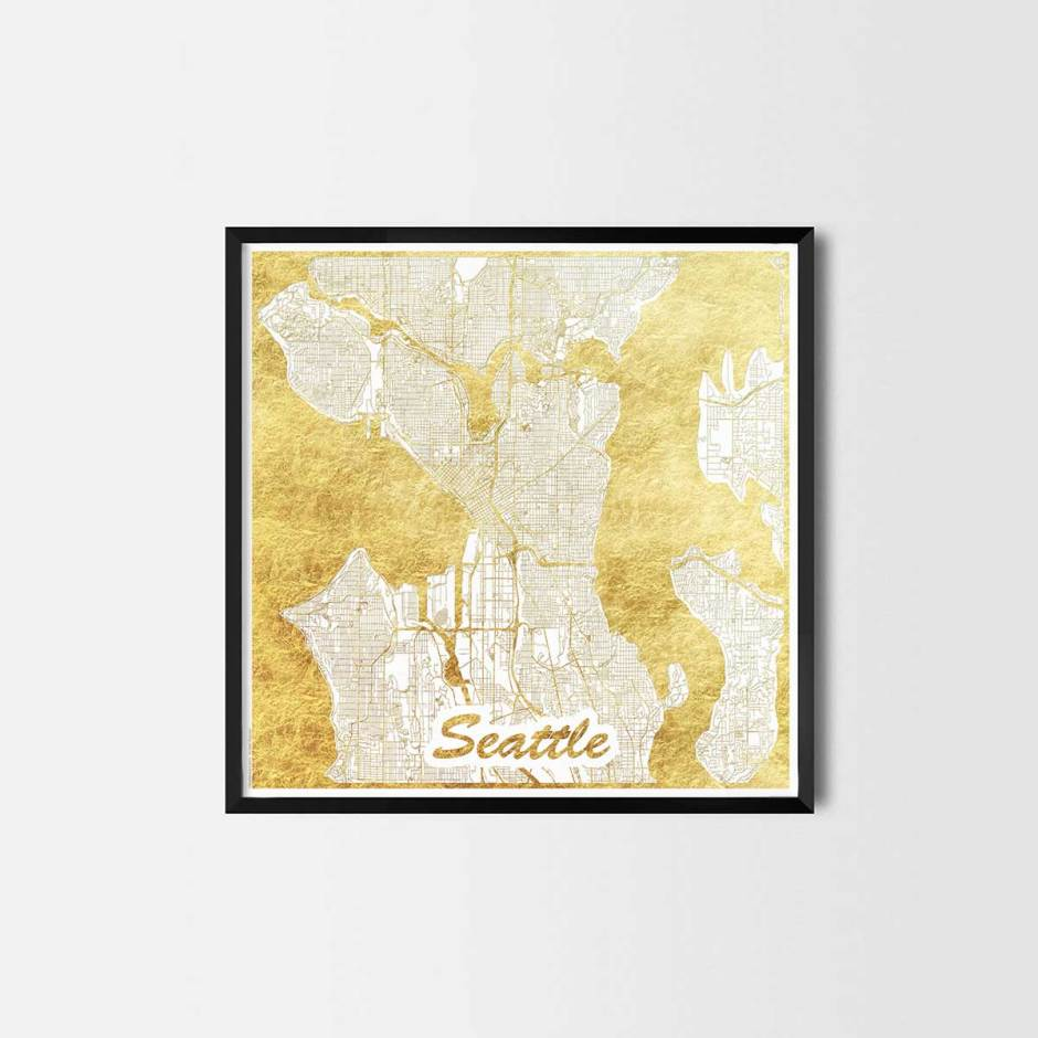 Seattle gift - Map Art Prints and Posters, Home Decor Gifts