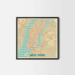 New York City Prints city map art posters retro map posters city map prints city posters retro posters