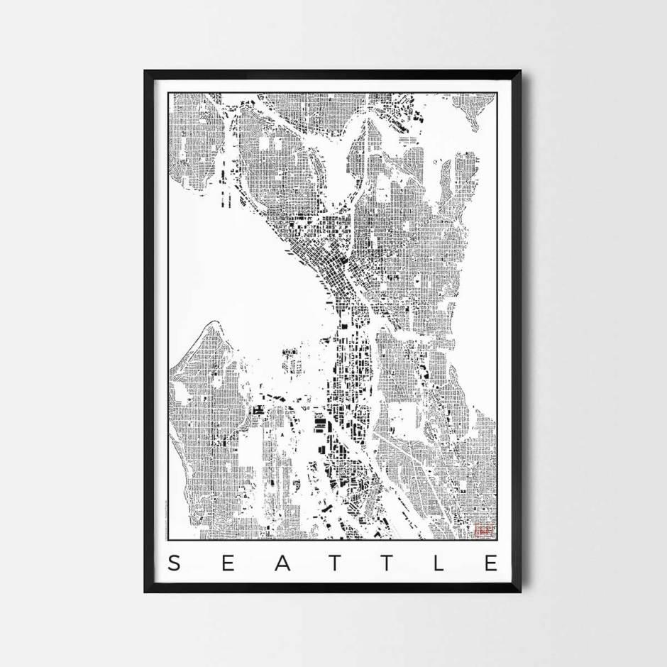 Seattle map poster schwarzplan urban plan