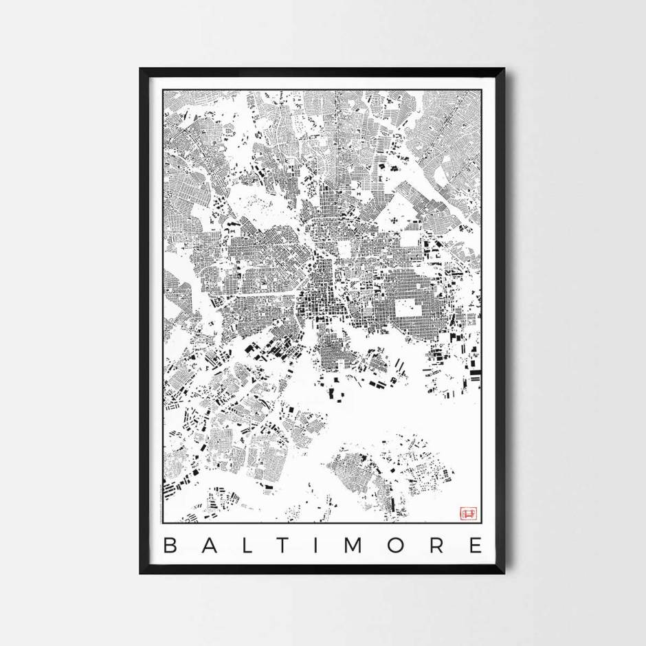 Baltimore map poster schwarzplan urban plan