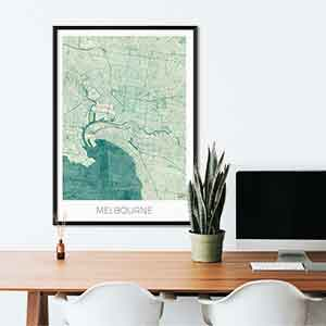 Melbourne gift map art gifts posters cool prints neighborhood gift ideas