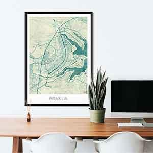 Brasilia gift map art gifts posters cool prints neighborhood gift ideas