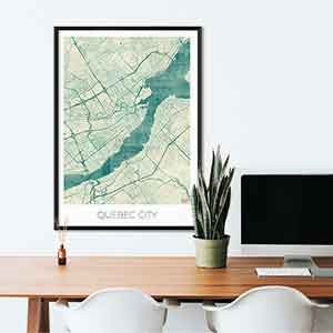 Quebec gift map art gifts posters cool prints neighborhood gift ideas