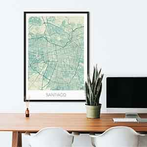 Santiago Gift Map Art Prints And Posters Home Decor Gifts