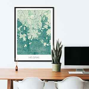 Helsinki gift map art gifts posters cool prints neighborhood gift ideas