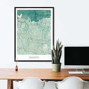 Jakarta gift map art gifts posters cool prints neighborhood gift ideas