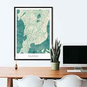 Mumbai gift map art gifts posters cool prints neighborhood gift ideas